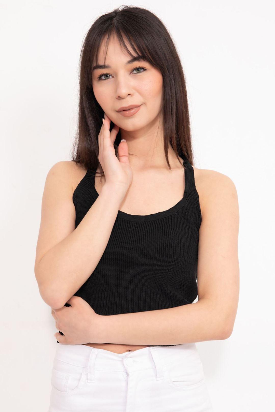 Capraz Askılı Crop Bluz Siyah