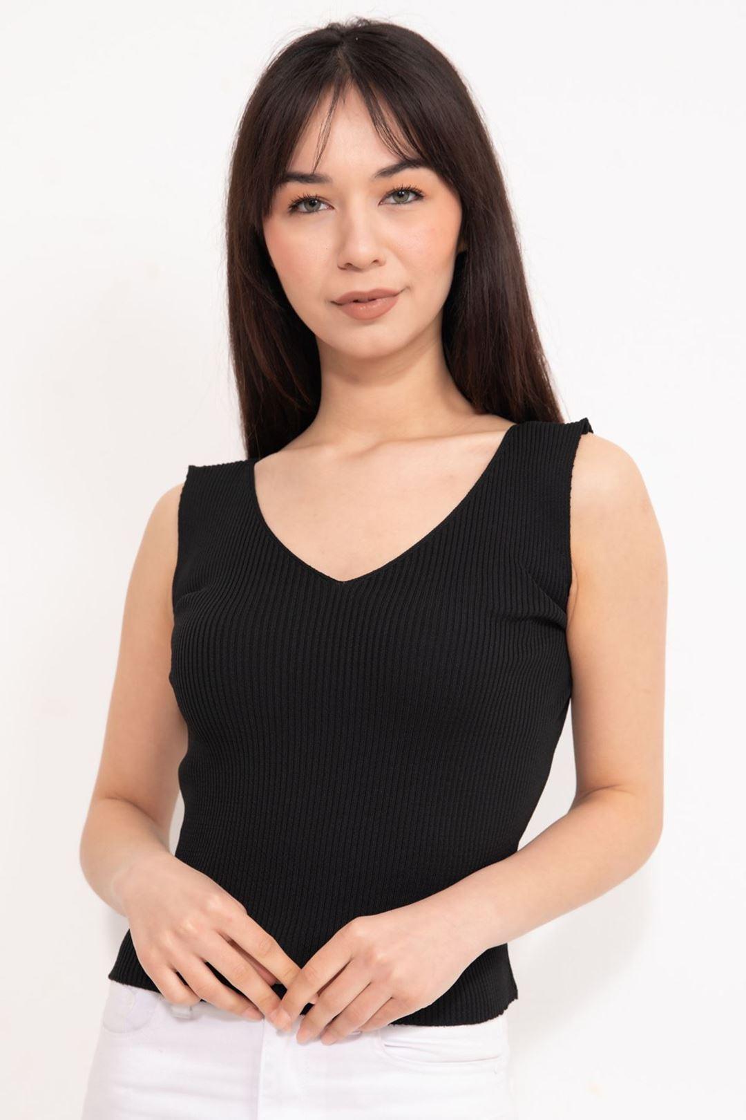 V Yaka Kalın Askılı Crop Bluz Siyah