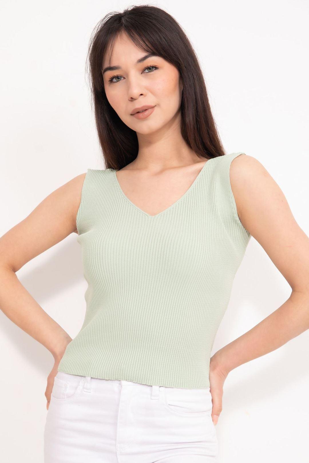 V Yaka Kalın Askılı Crop Bluz Su Yeşili