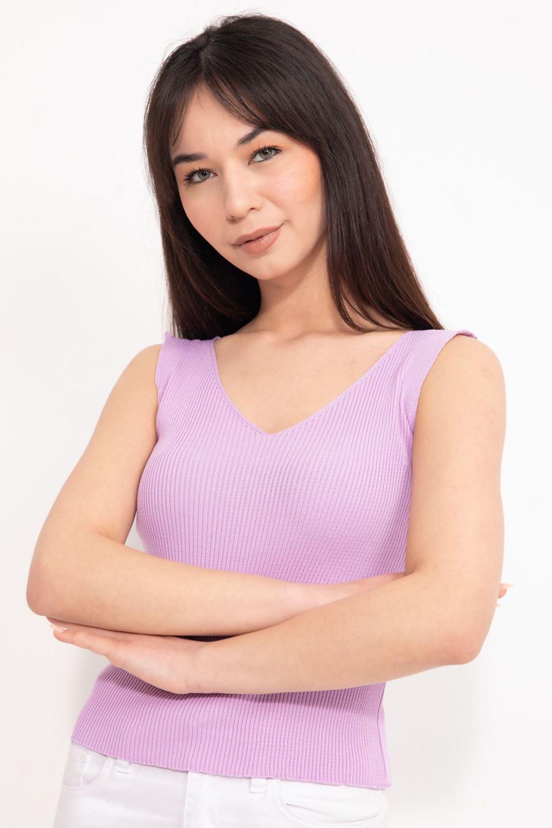 V Yaka Kalın Askılı Crop Bluz Lila