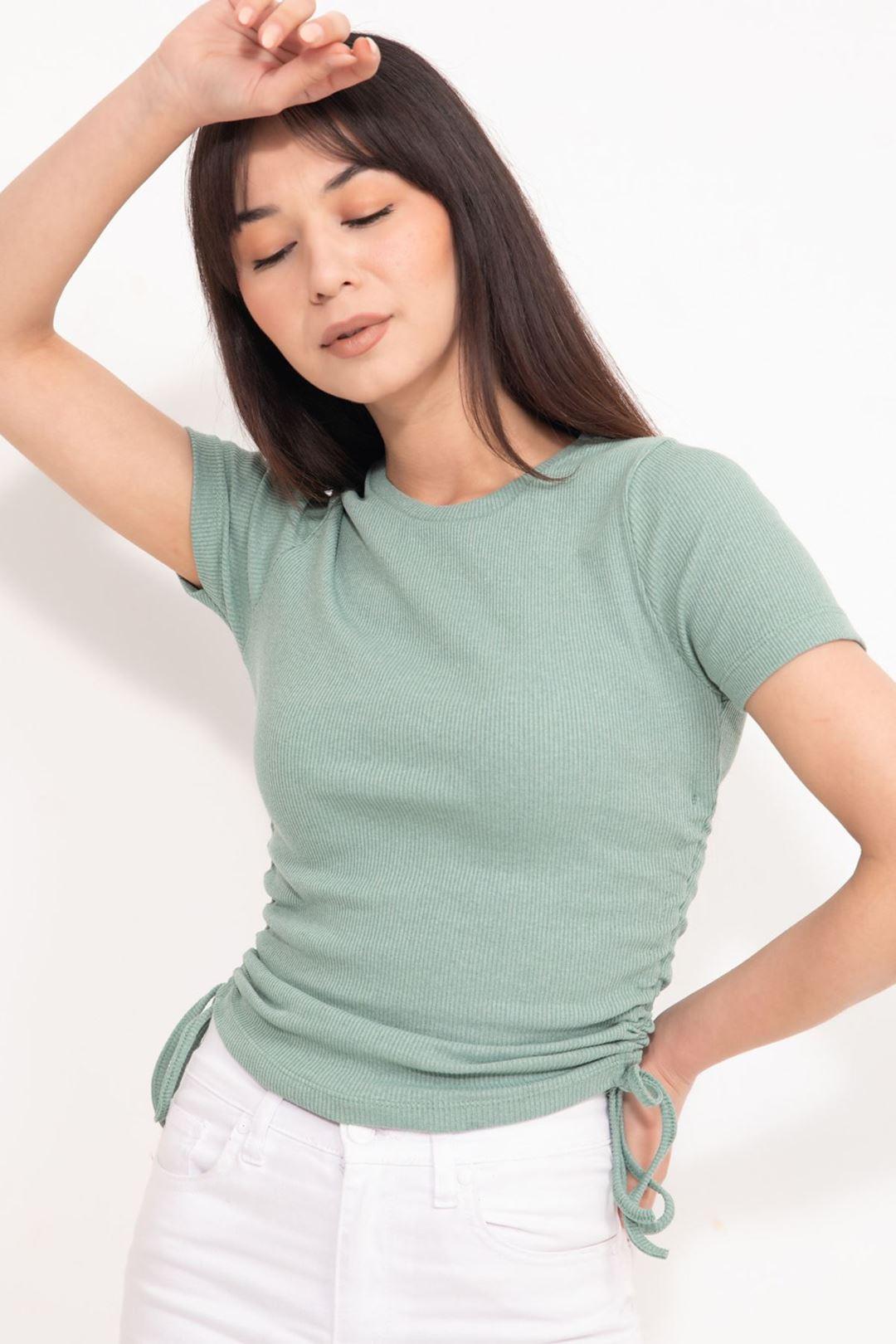 Fitilli Yandan Büzgülü Bluz Mint