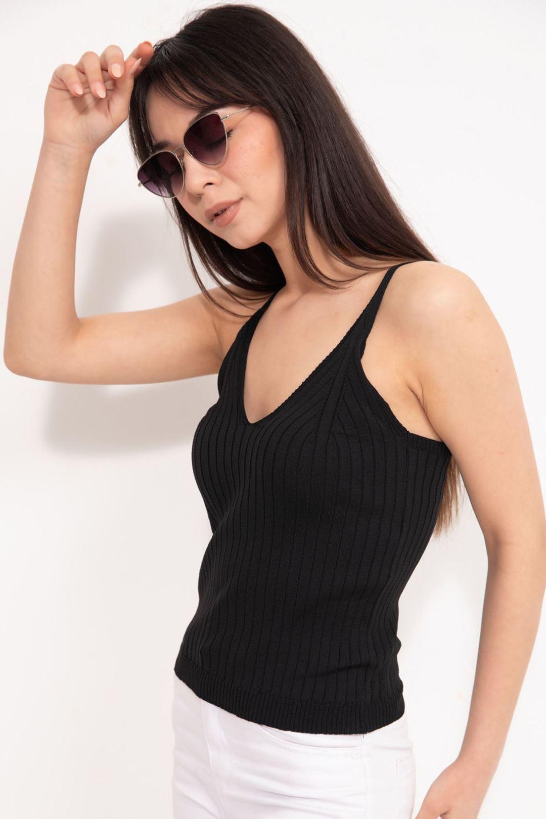 Askılı Triko Crop Bluz Siyah