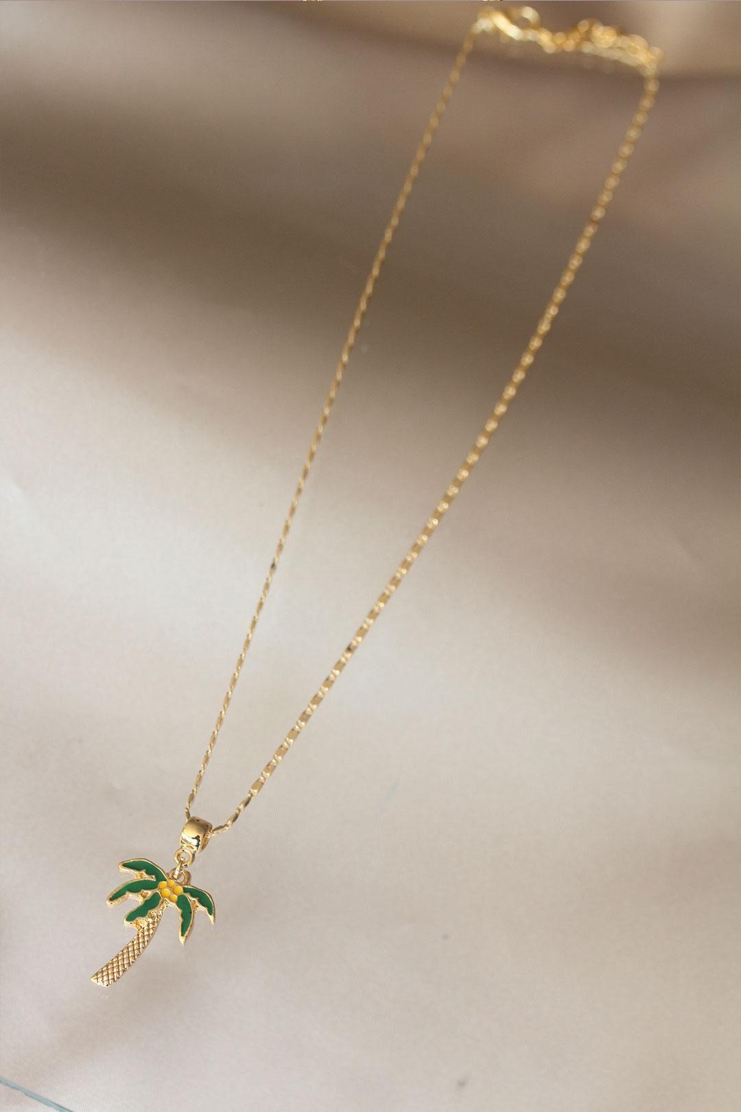 Palmiye Detaylı Zincir Kolye
