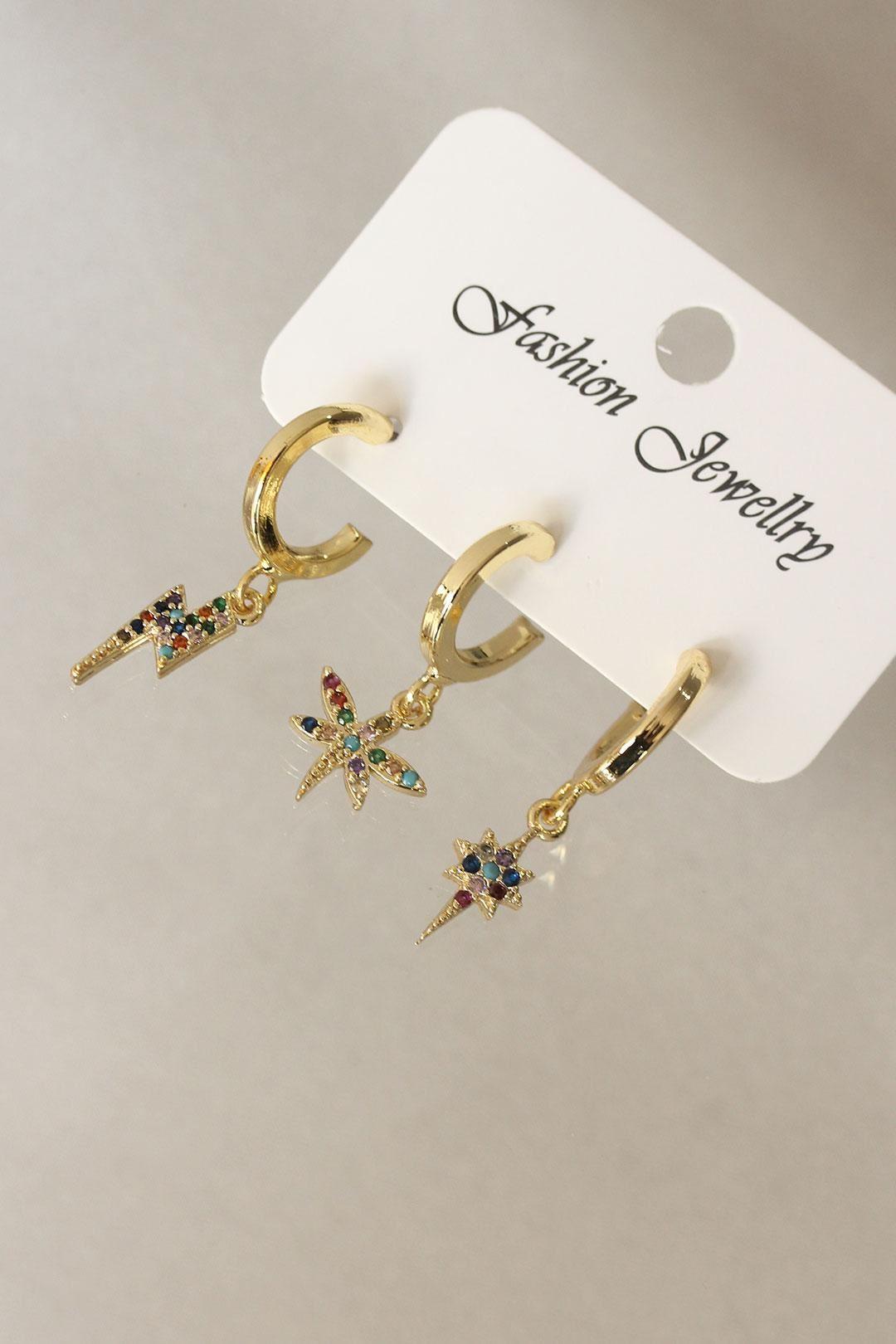 Yusufçuk Model Renkli Zirkon Taşlı Gold Küpe Seti