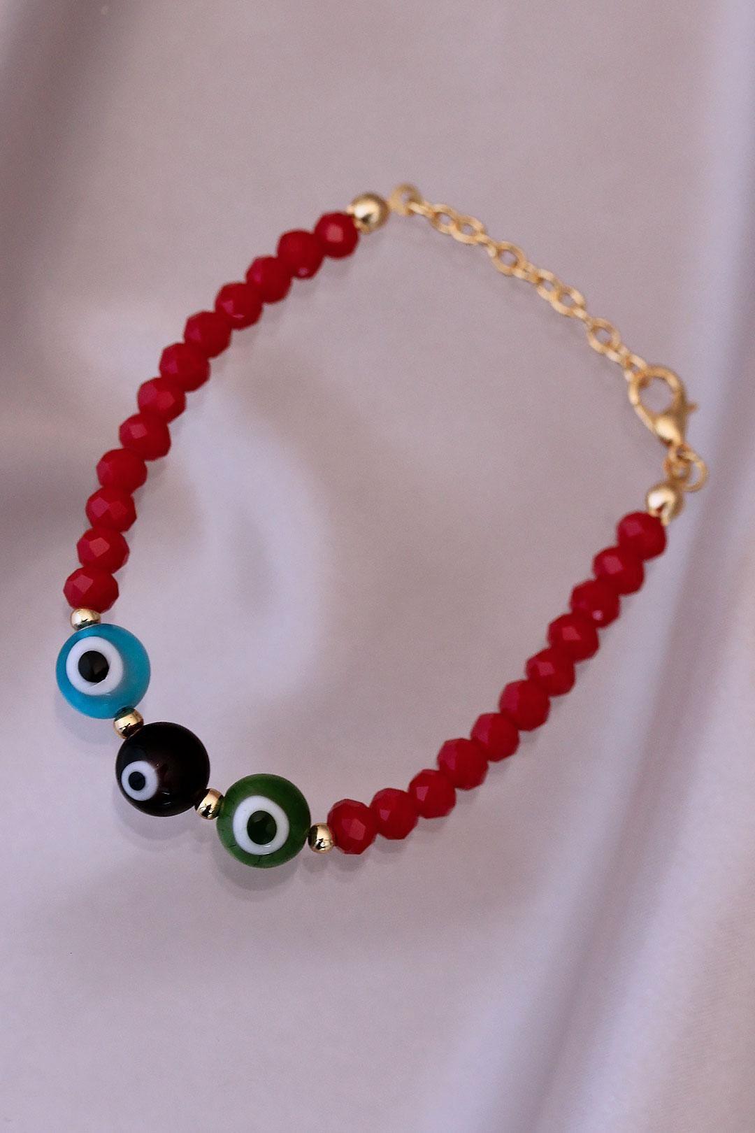 Renkli Nazar Boncuk Detaylı Kırmızı Murano Cam Boncuk Tasarımlı Bileklik