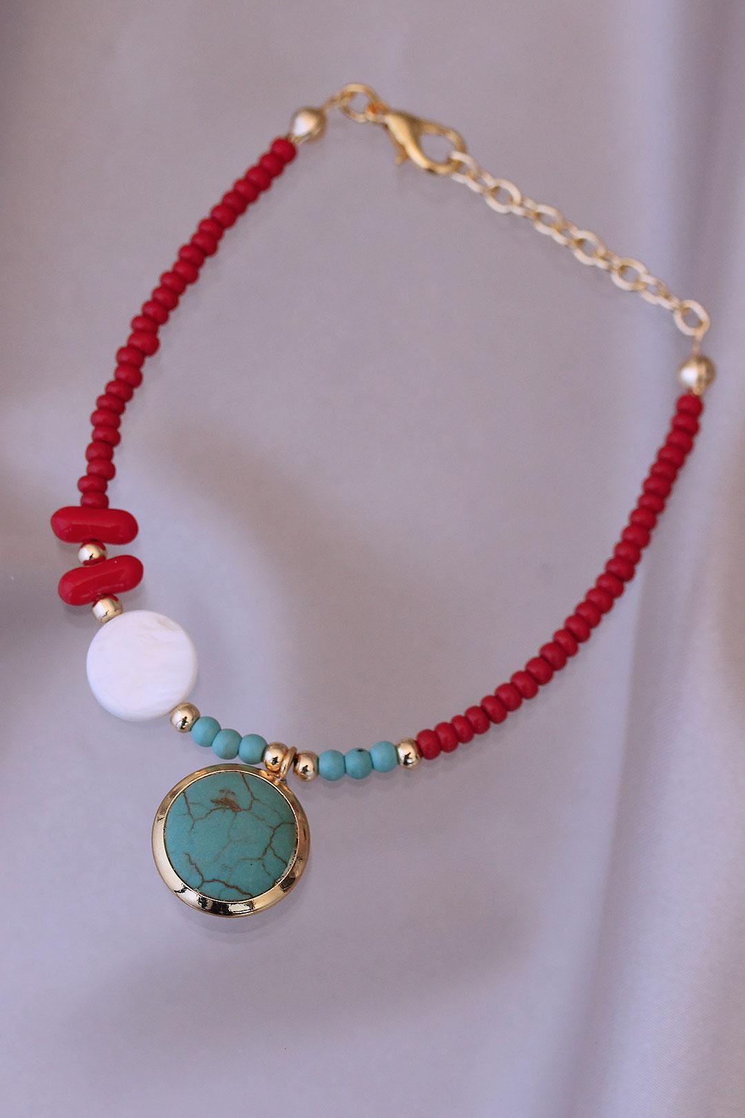 Kırmızı Boncuklu Mavi Doğal Taş Tasarımlı  Bileklik