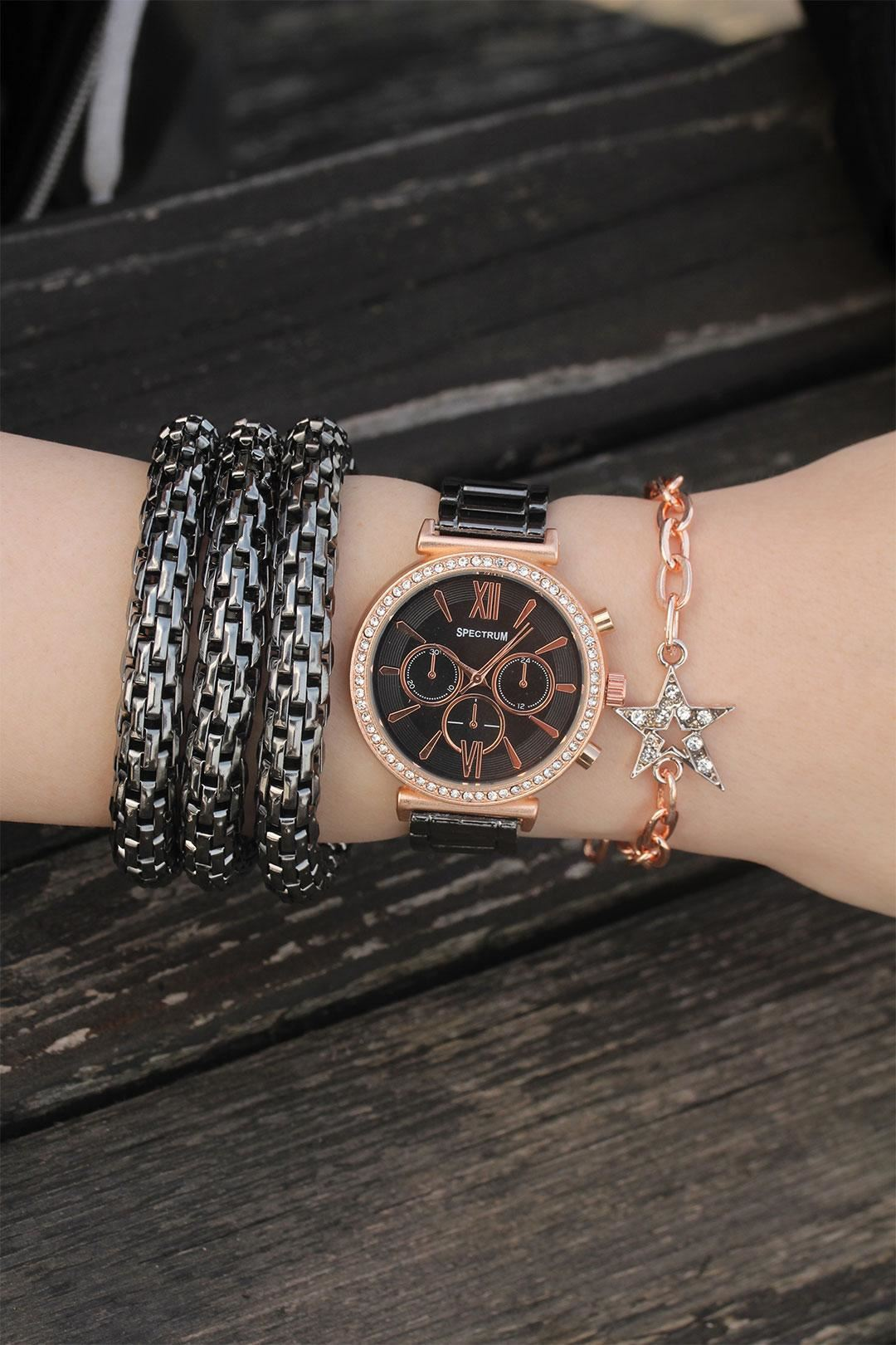 Rose Füme Zirkon Taşlı Metal Saat ve Bileklik Kombini
