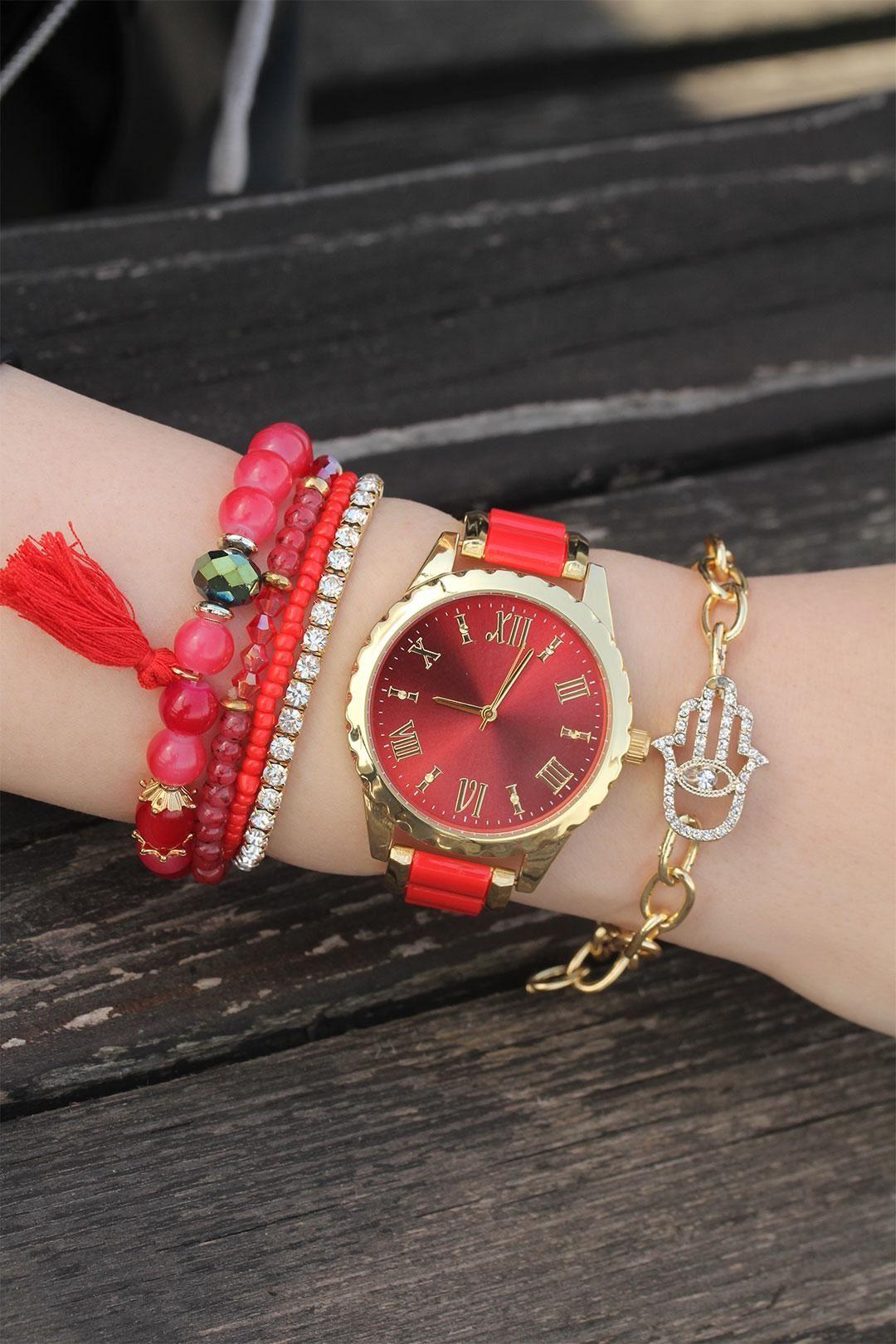 Gold Kırmızı Metal Saat ve Taşlı Bileklik Kombini