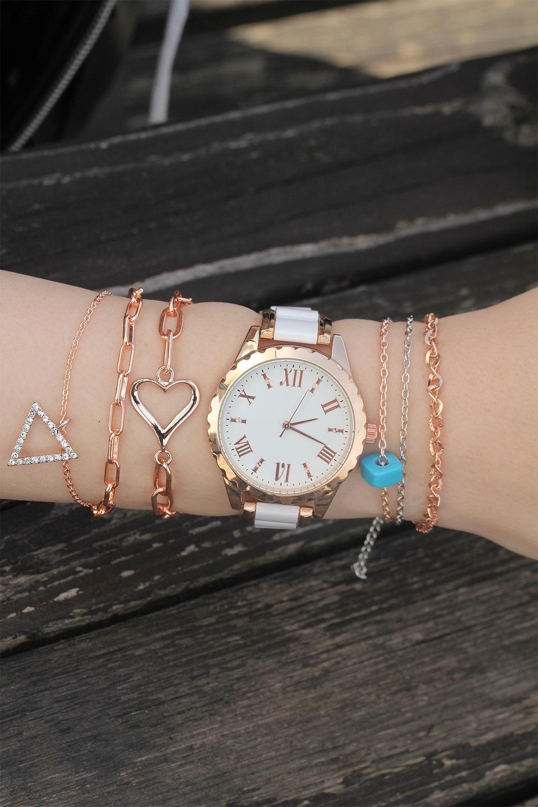 Rose Beyaz Metal Saat ve Taşlı Bileklik Kombini