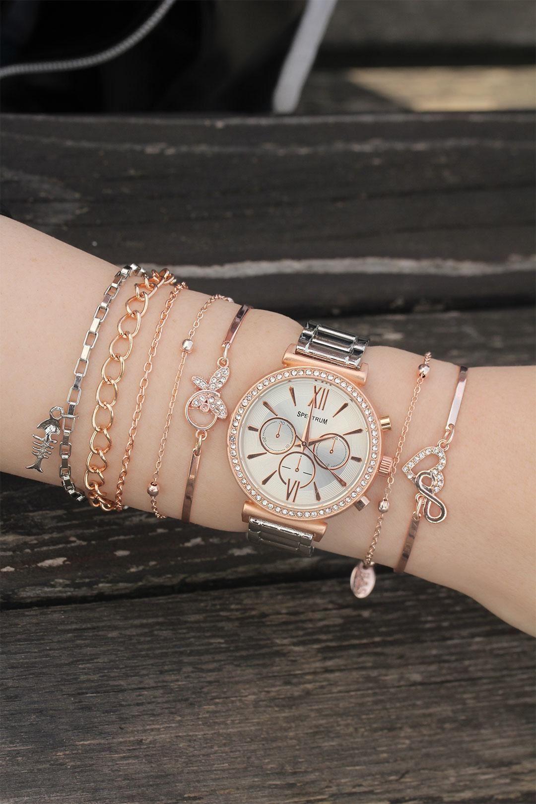 Taşlı Rose Gümüş Metal Saat ve Bileklik Kombini