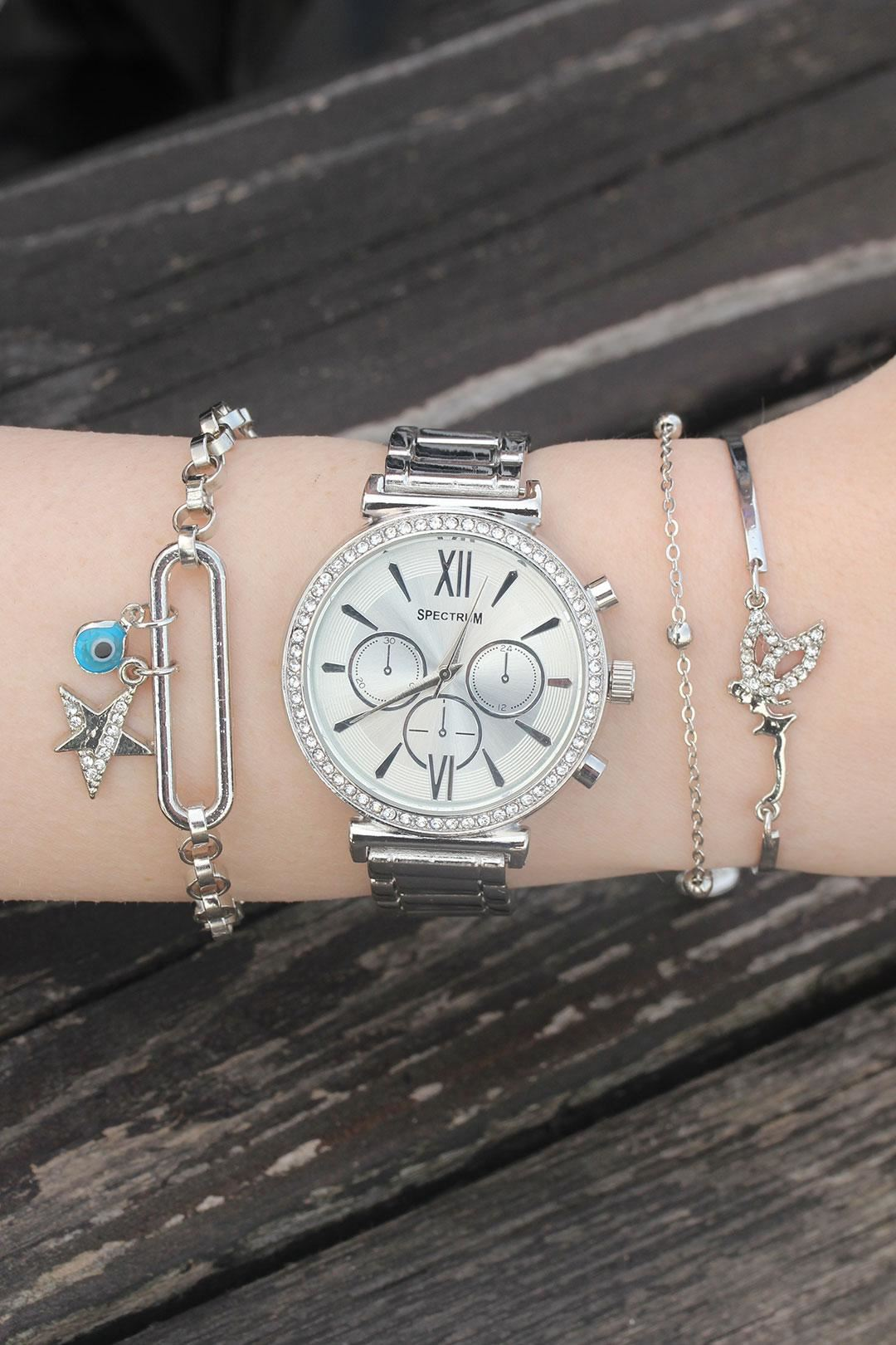 Silver Renk Taşlı Metal Saat ve Bileklik Kombini