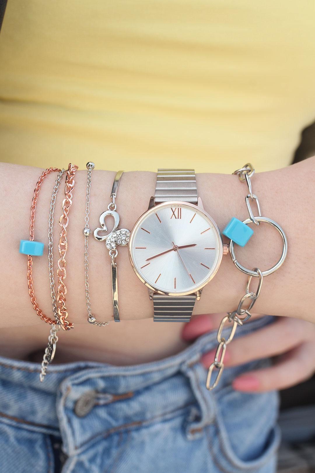Gümüş Renk Metal Kordonlu Saat ve Bileklik Kombini