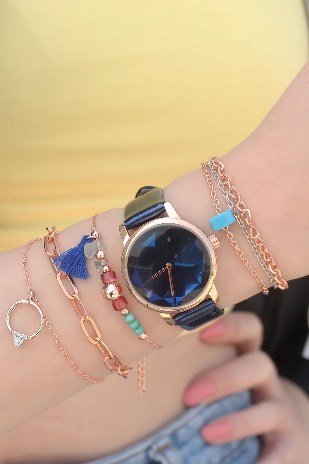 Mavi Deri Kordonlu Saat ve Bileklik Kombini