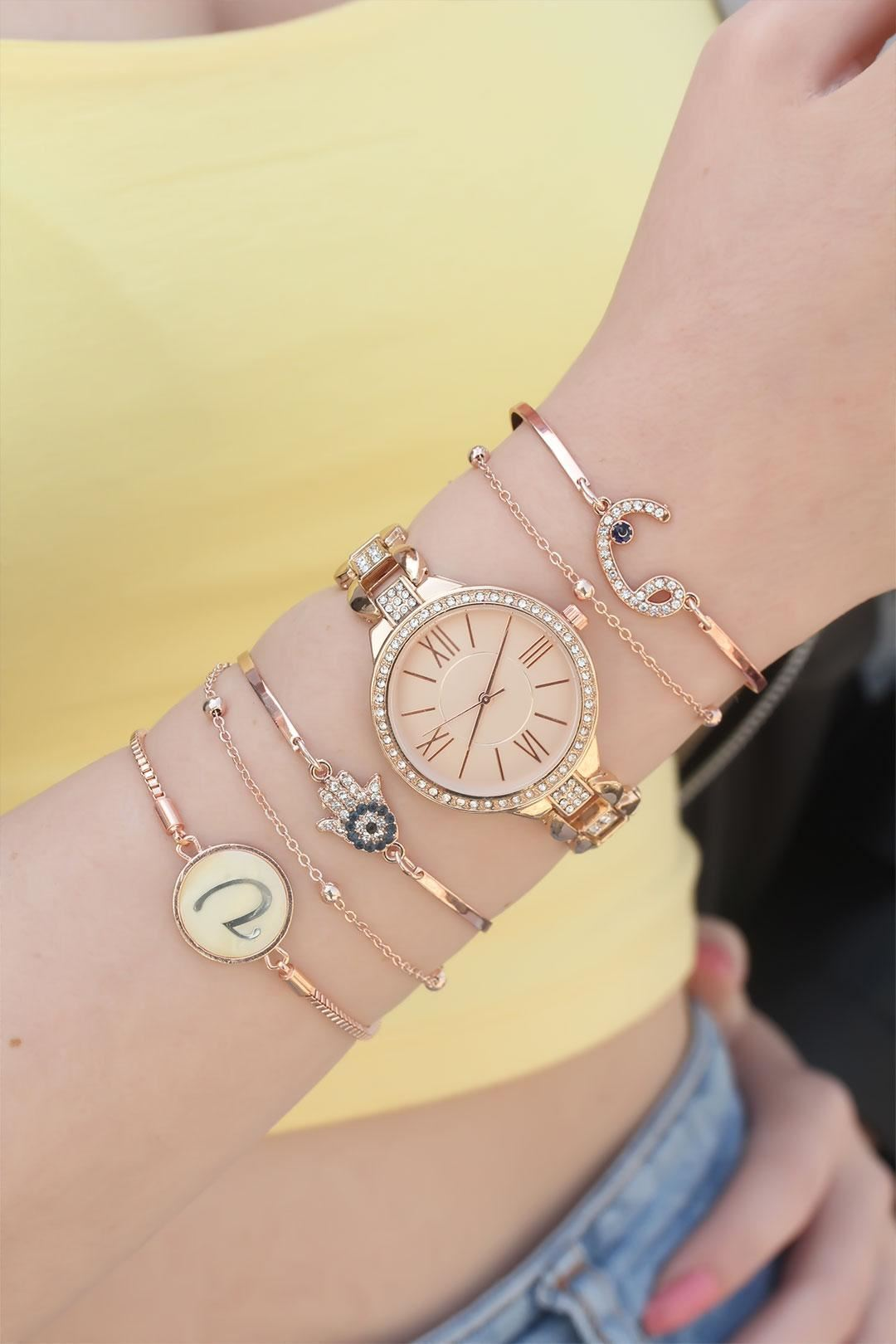 Rose Renk Metal Kordonlu Taşlı Saat ve Bileklik Kombini