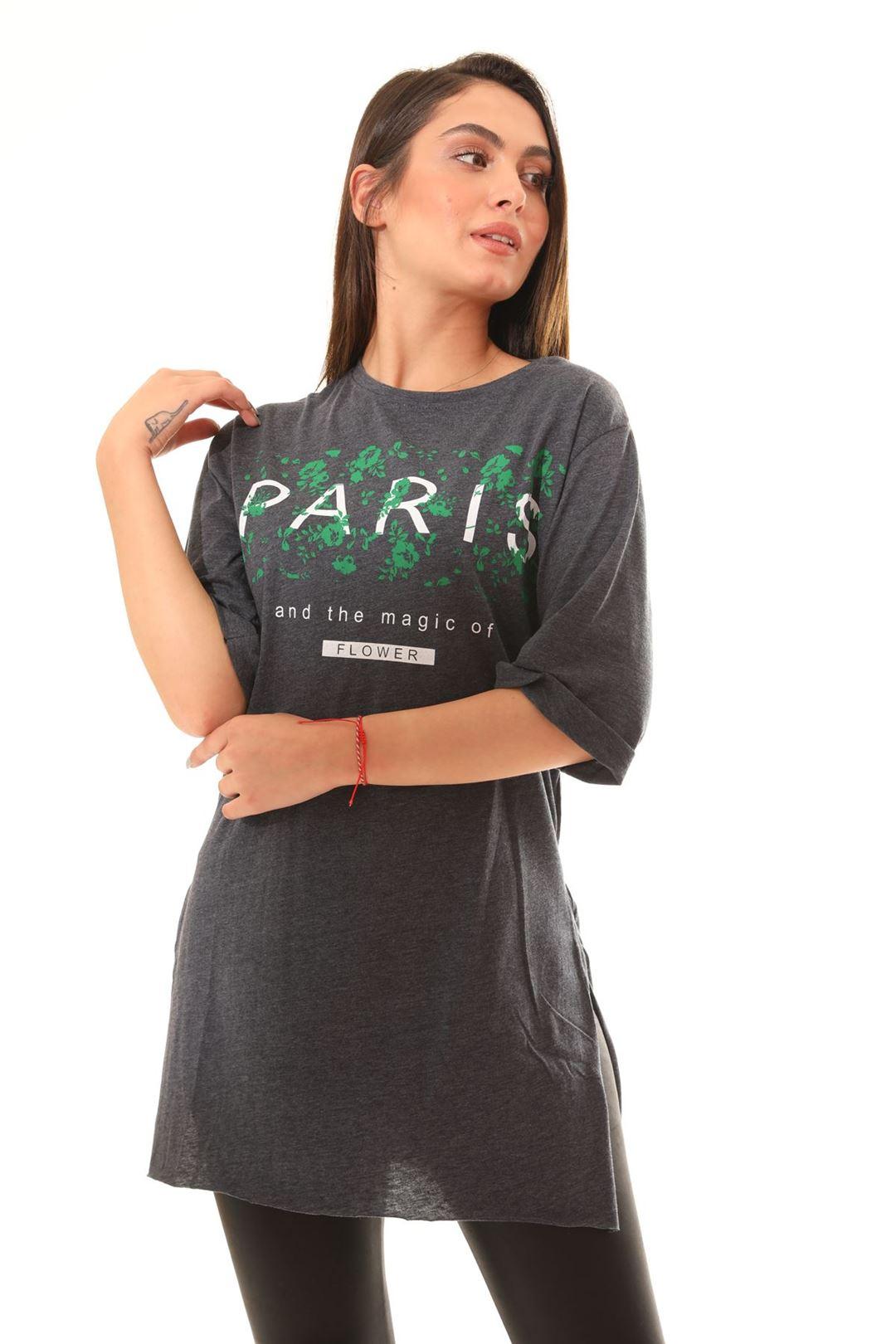 Paris Baskılı Tunik Antrasit