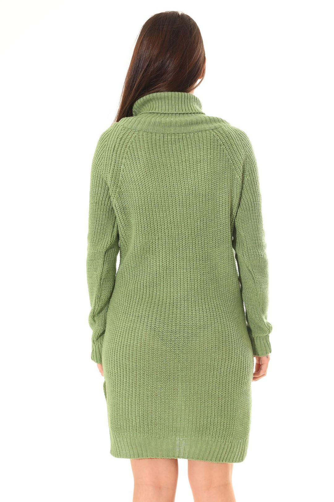 Boğazlı Triko Tunik Yeşil