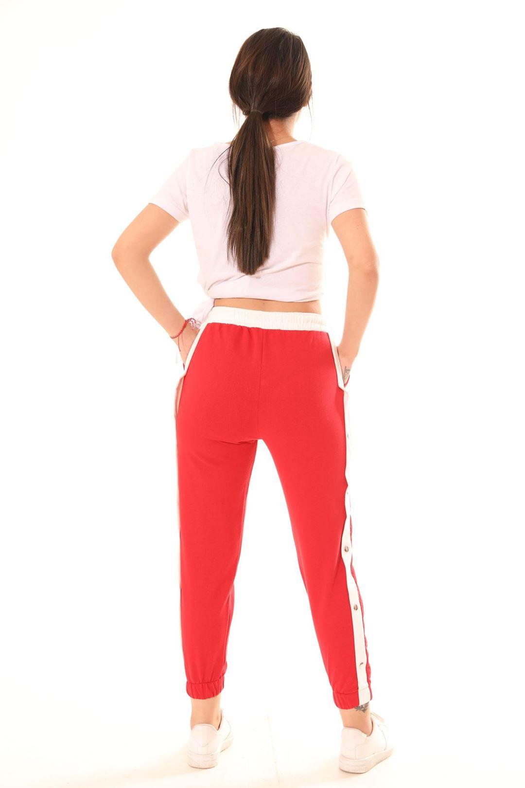 Yanı Çıtçıtlı Mom Pantolon Kırmızı