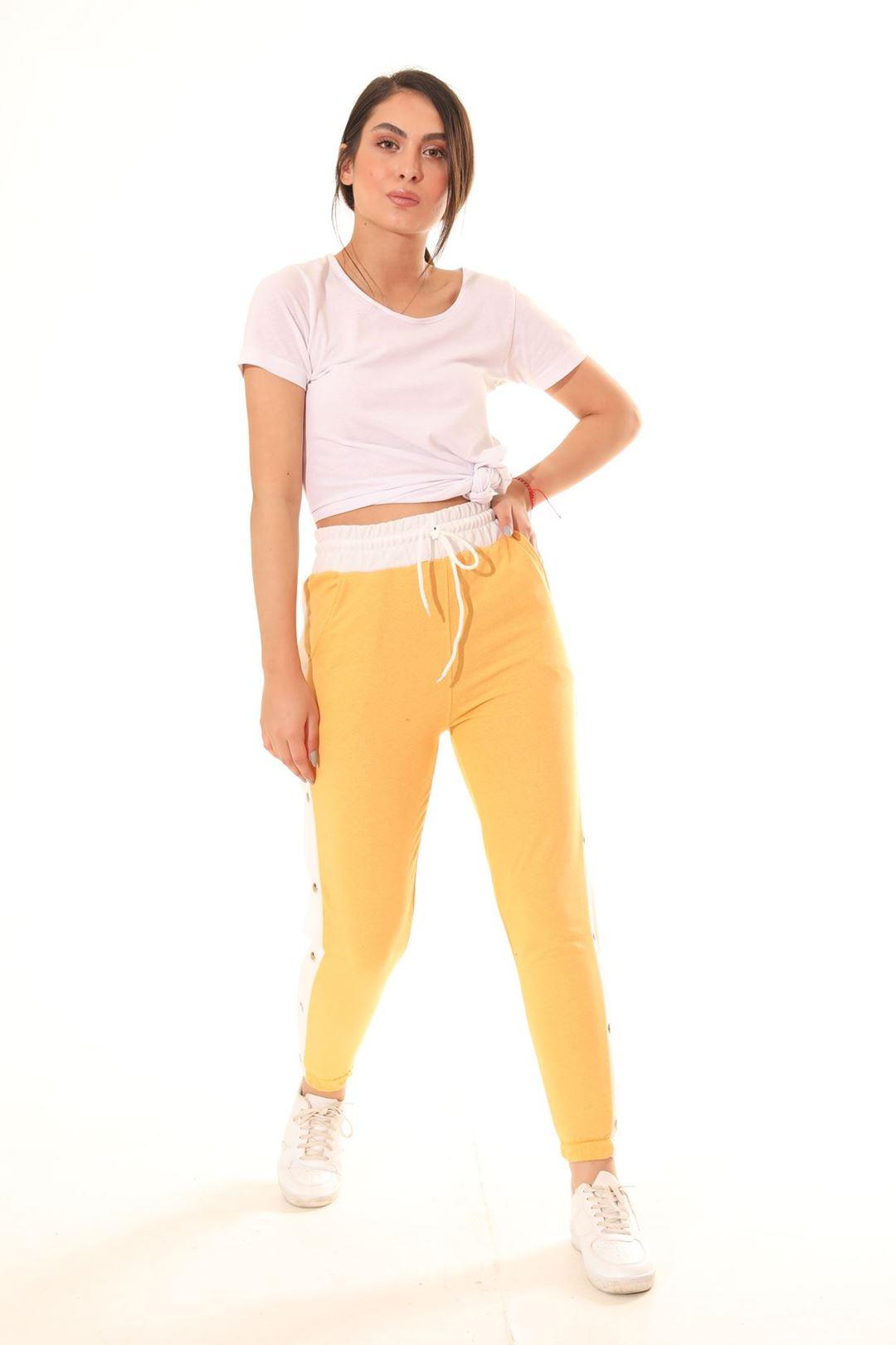 Yanı Çıtçıtlı Mom Pantolon Sarı