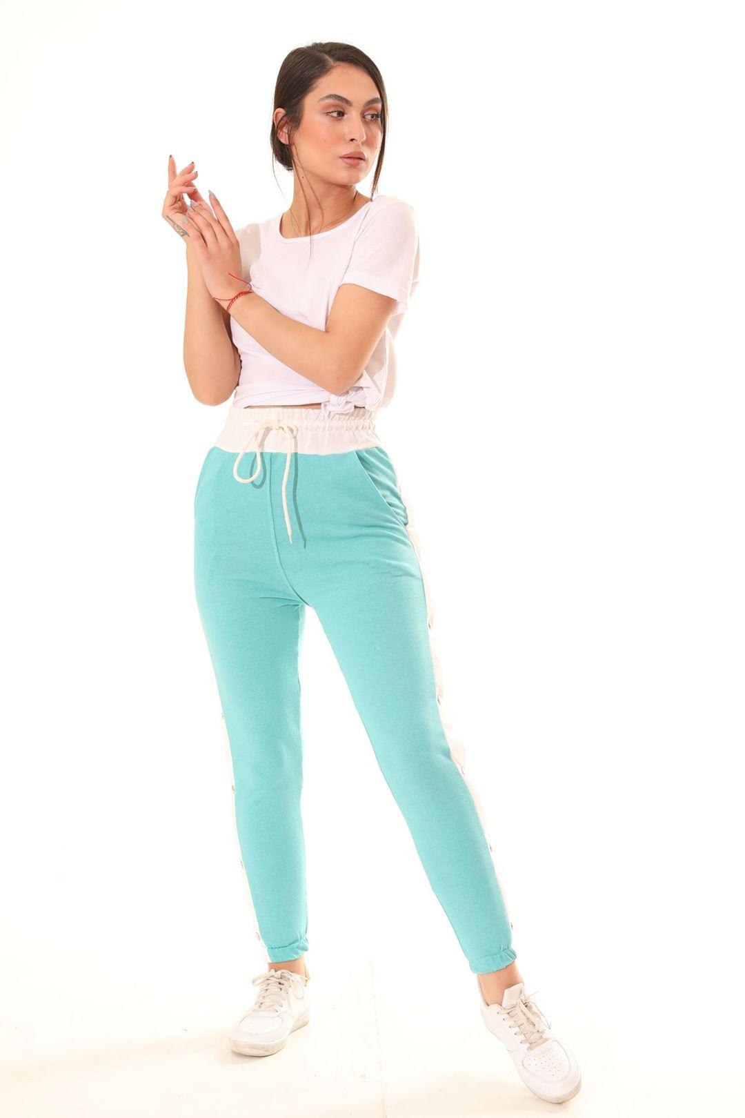 Yanı Çıtçıtlı Mom Pantolon Mint