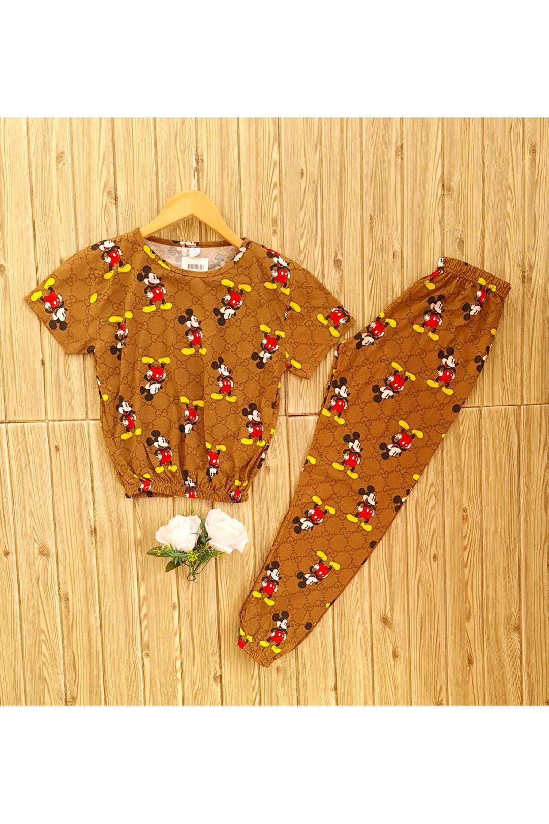 Kısakollu Bel Lastikli Pijama Takımı
