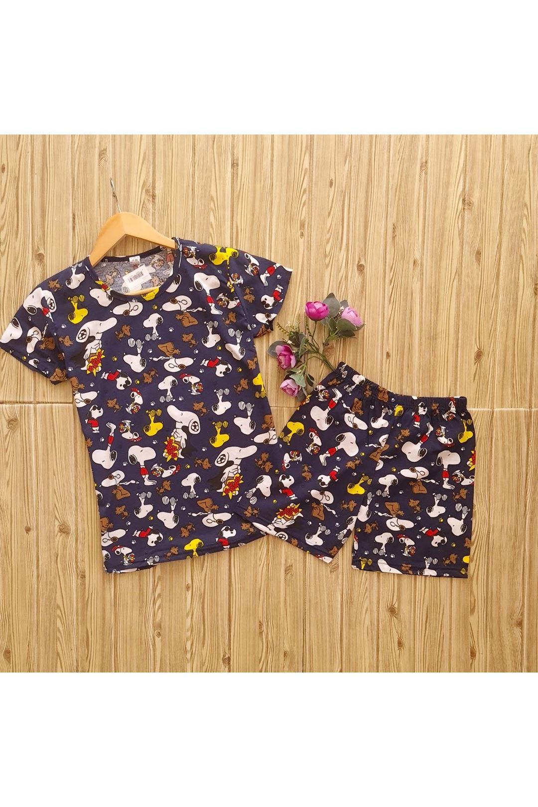 Kısakollu Şortlu Pijama Takımı