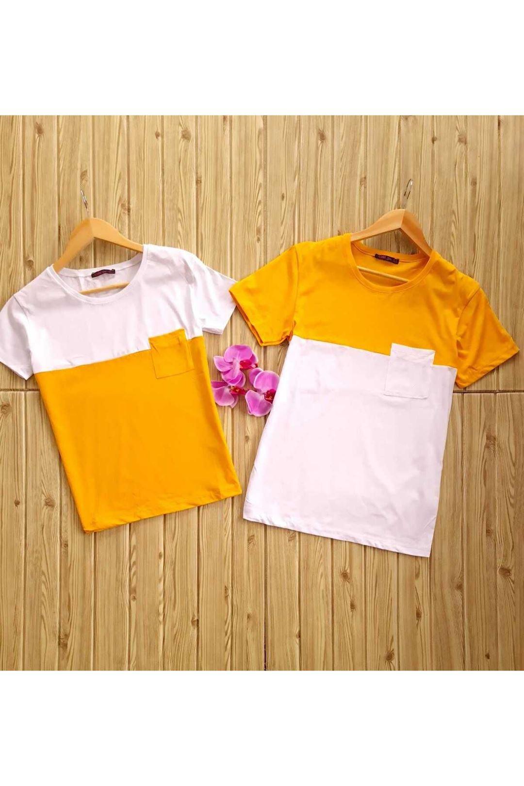 Çift Renkli Cepli Bayan Thsırt Sarı