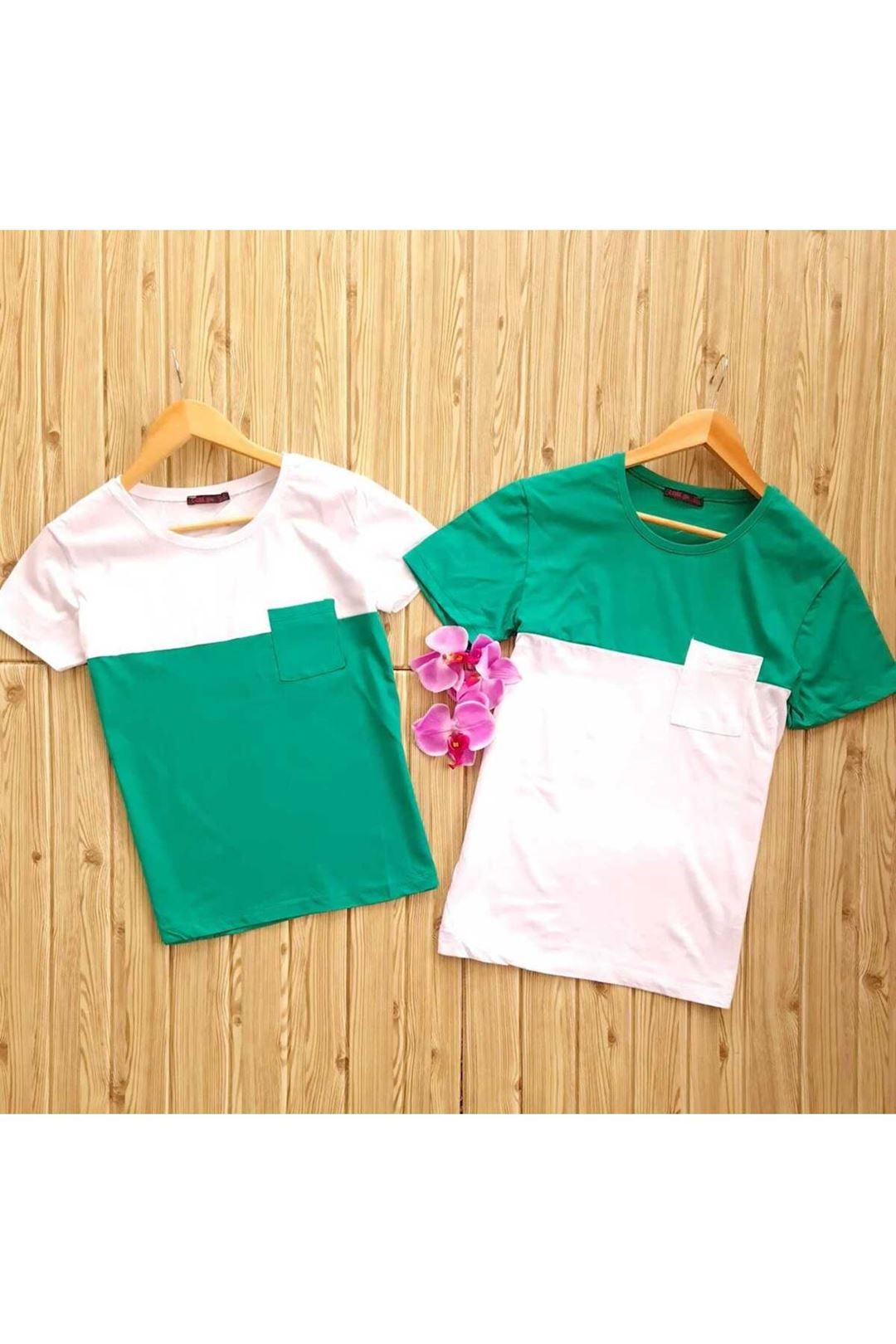 Çift Renkli Cepli Bayan Thsırt Yeşil