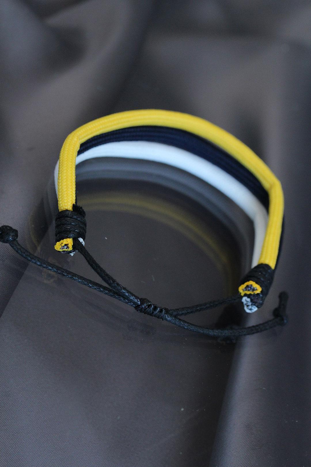 Sarı Lacivert Beyaz Renkli İpli Bileklik