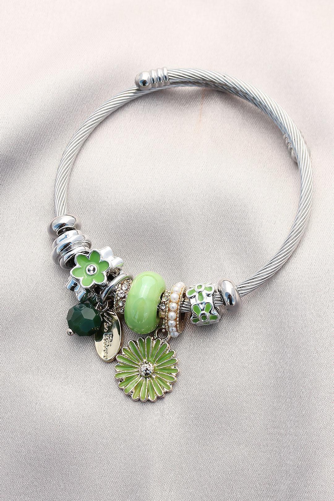 Yeşil Çiçekli ve Taşlı Charm Bilezik