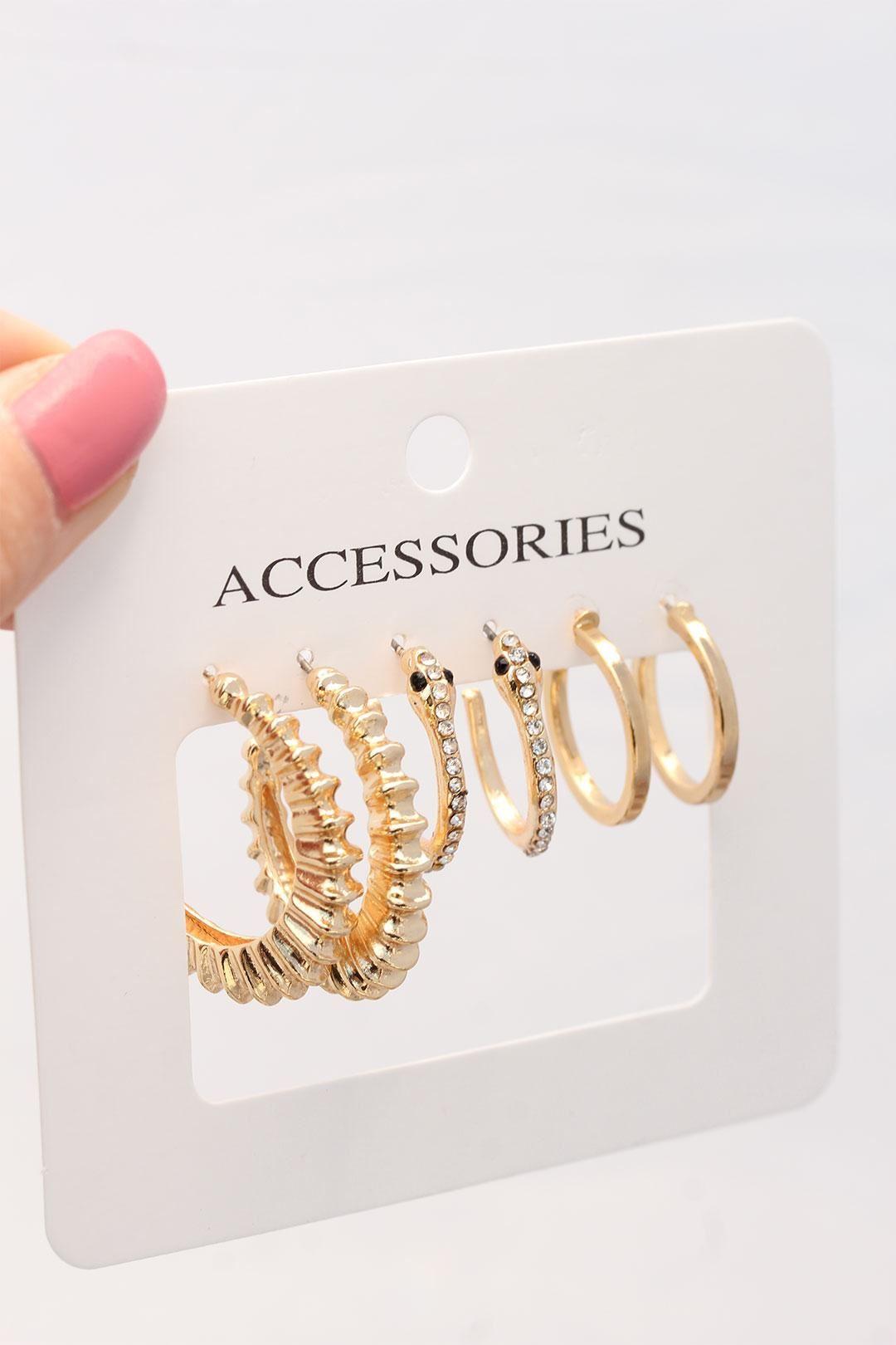 Gold Renk Zirkon Taşlı Yılan Detaylı Çoklu Metal Küpe