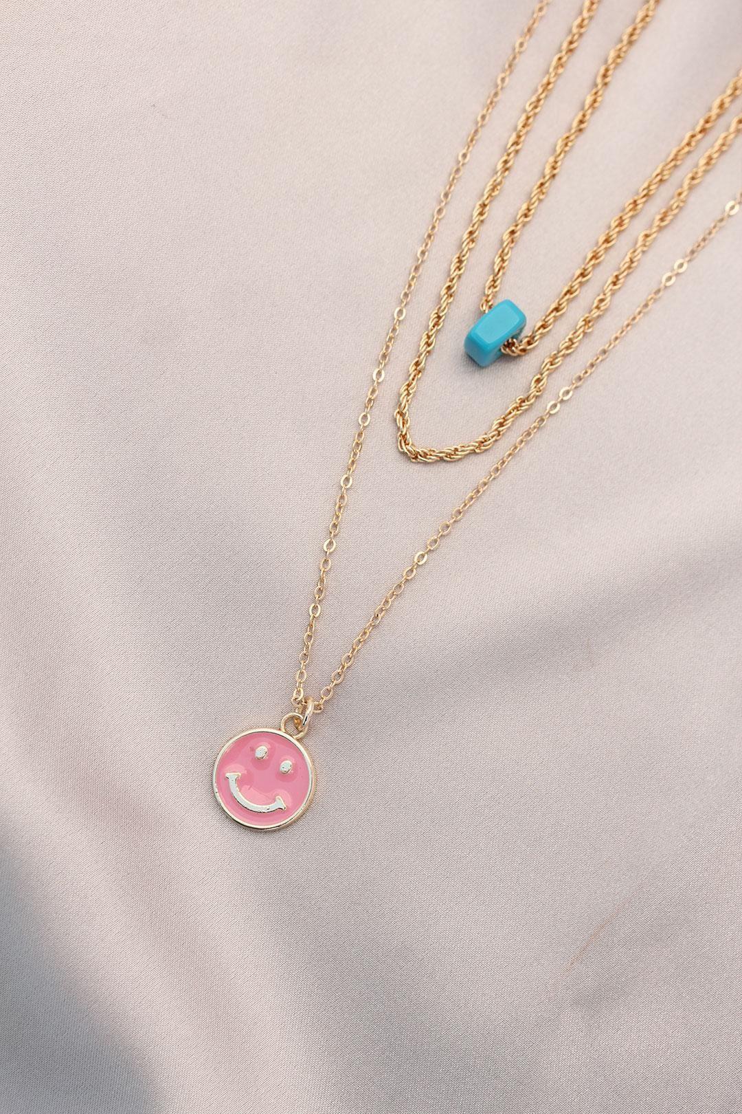 Yeni Sezon Pembe Renk Smile Model Mavi Doğal Taş Tasarımlı Çoklu Kolye