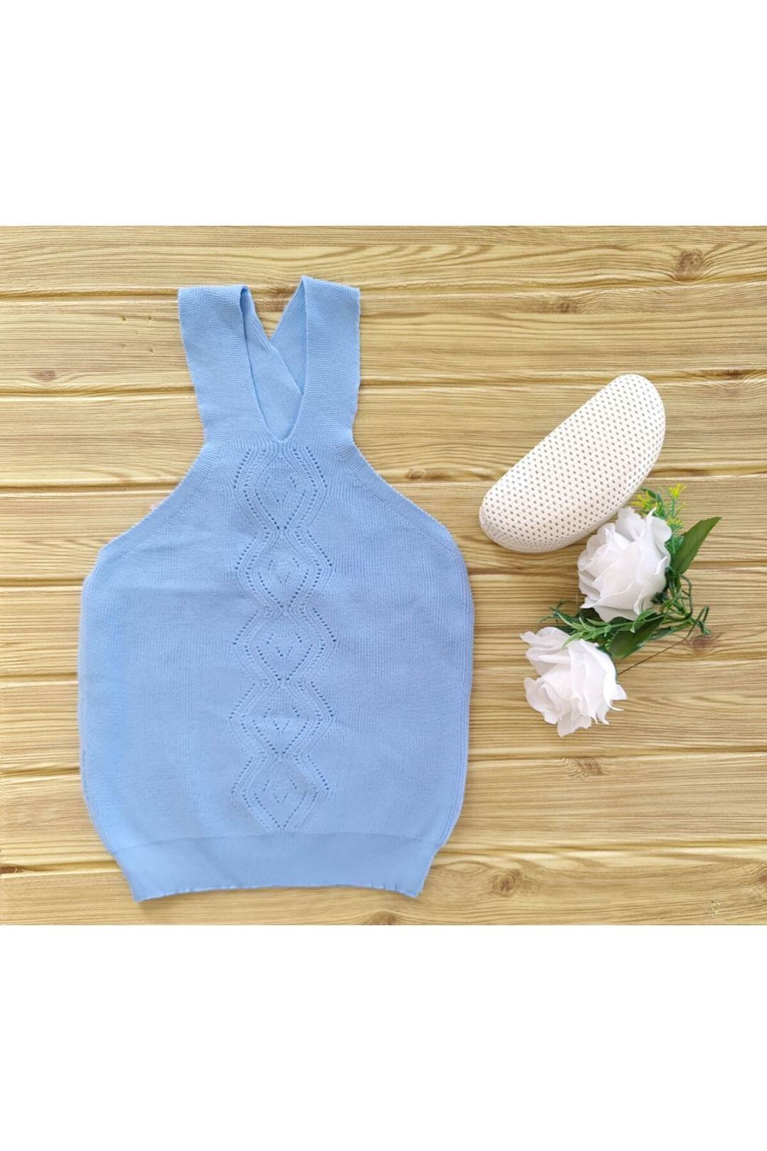 Çapraz Askılı Triko Bluz