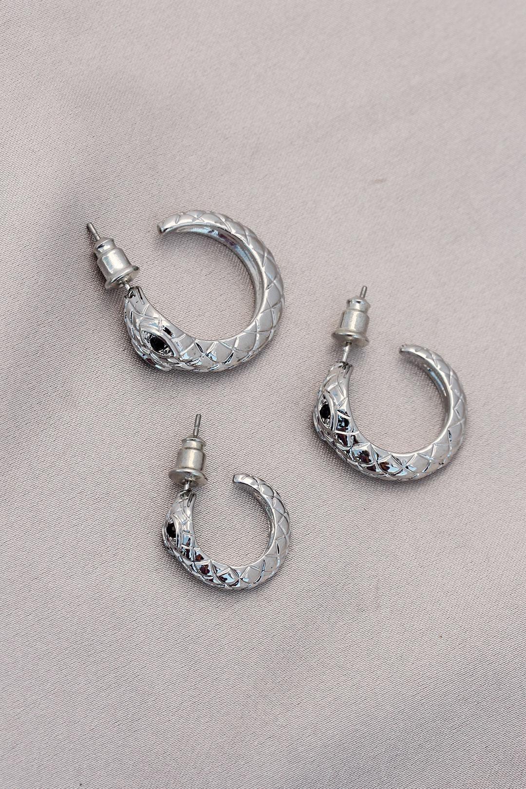 Yılan Tasarımlı Halka Model Gümüş Metal Küpe Seti