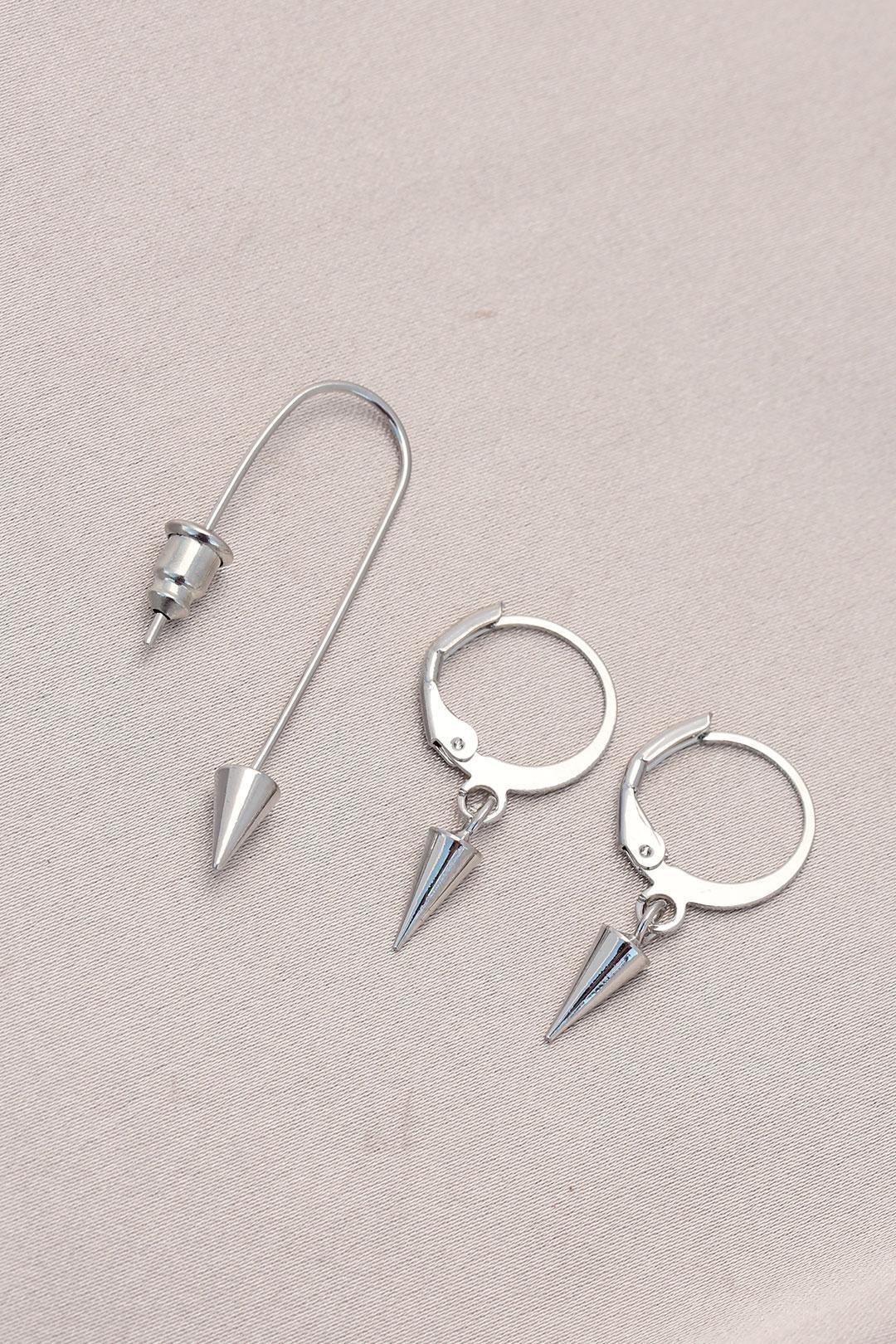 Sivri Uçlu Gümüş Metal Küpe Seti
