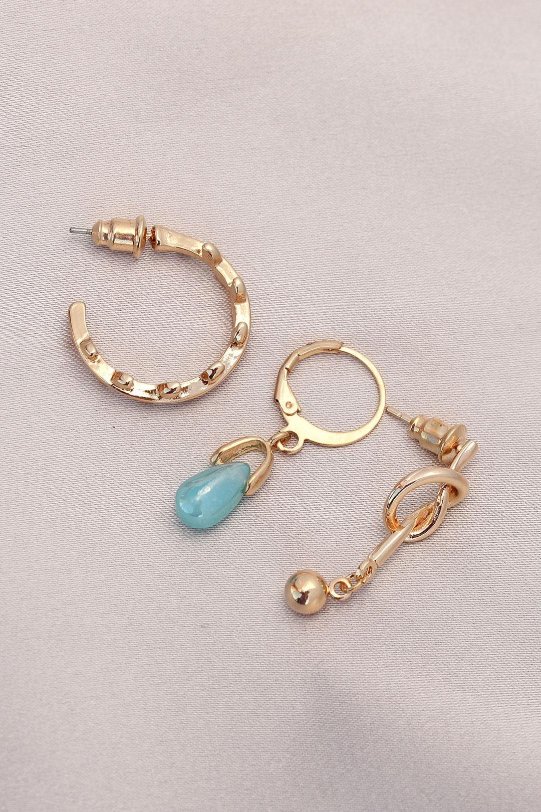 Düğüm Figürlü Mavi Taşlı Gold Metal Küpe Seti