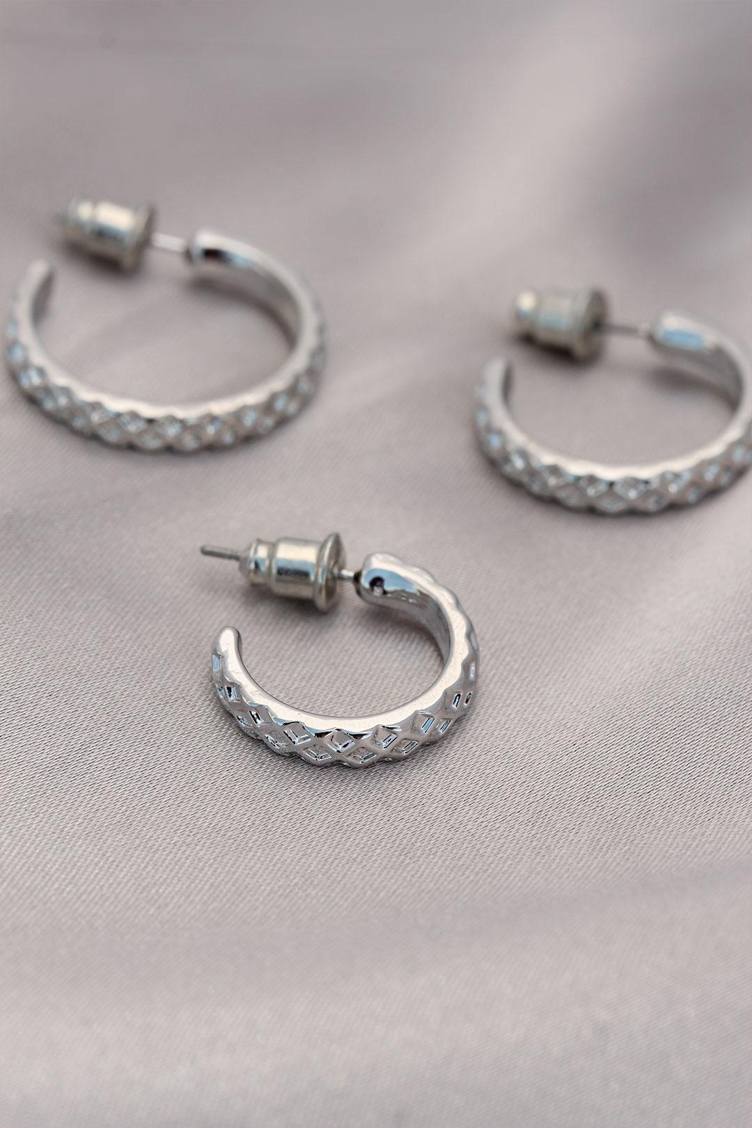 Halka Model Desen Baskılı Gümüş Metal Küpe Seti
