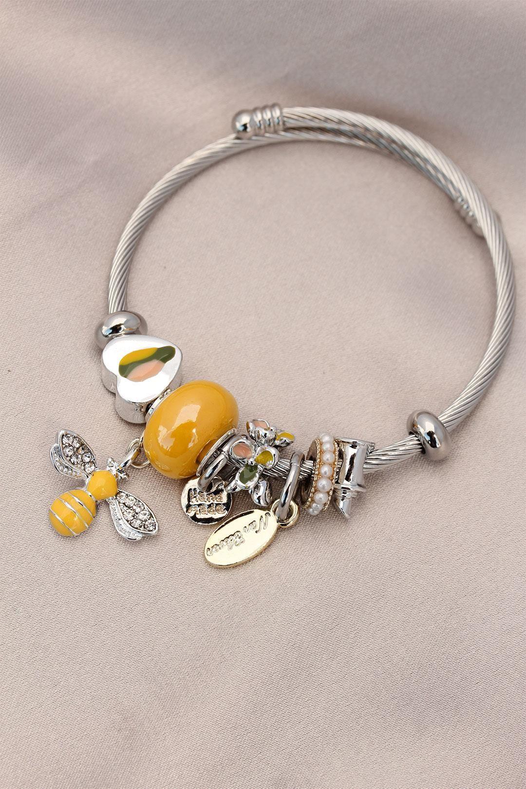 Kalpli Sarı Taşlı Charm Bilezik