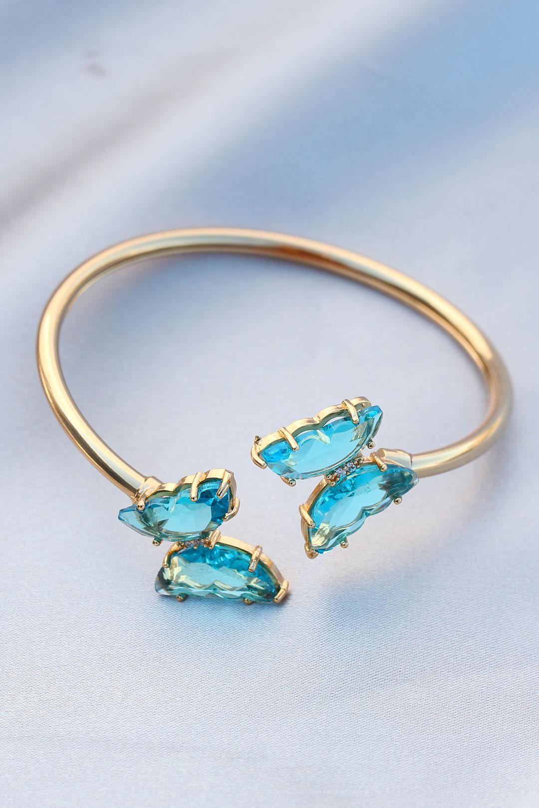 Şeffaf Mavi Kelebek Model Kelepçe Çelik Bilezik