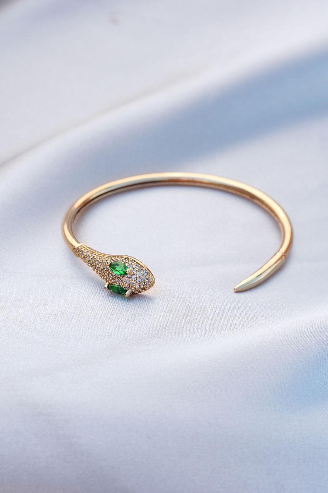 Zirkon Taşlı Yeşil Gözlü Yılan Tasarımlı Çelik Kelepçe Bileklik