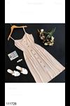 İp Askılı Düğme Detaylı Bej Elbise 111726