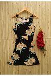 Askılı V Yaka Desenli Kısa Kadın Elbise